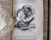 Vintage, Gorgeous Illustrated 1872 French Novel, Marbled