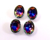 4 Bermuda Blue 10x8mm Oval Czech Glass TTP Jewels, Pointed Back, Table Polished Stones