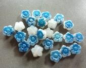 Vintage Blue Star Flower 8mm Glass Beads (6)