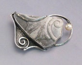 Grey Pottery Shard Set in Silver with a Pearl