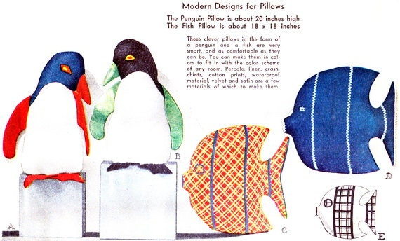Penguin Fish Pillows Sewing Pattern McCall 196 Aquatic Animals Pillow 1930s Vintage Sewing Pattern Uncut