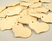 25 Wood Gift Tags - Hearts, 2 5/16 inch x 1/8 inch Unfinished Wooden Tags for DIY
