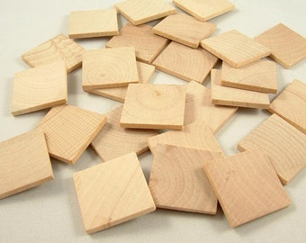 25 Wood Squares, Shapes - 1 1/4 inch x 1/8 inch Unfinished Wooden Squares for DIY