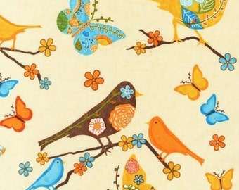 Rare FINALLY FREE BIRDS Cream Retro Novelty Cotton Bird Quilt Fabric - by the Fat Quarter - Robert Kaufman Out of Print