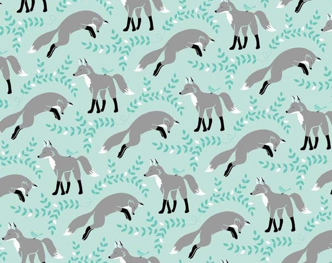"LES AMIS Socks The FOX Aqua Foxes - Patty Sloinger Collection - Cotton Quilt Fabric - by the Precut Remnant 15""L x 45""W"