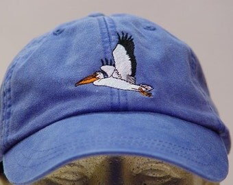 PELICAN BIRD HAT - One Embroidered Wildlife Cap - Price Embroidery Apparel - 24 Color Caps Available