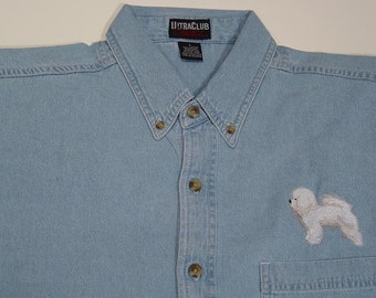 BICHON FRISE Dog Embroidered Small to 4XL Long Sleeve Light Blue Denim Shirt - Price Embroidery Apparel