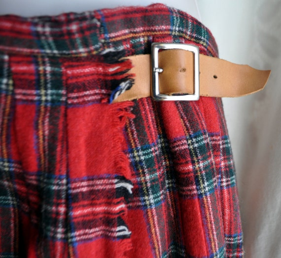 Vintage Handmade Red Plaid Kilt Small