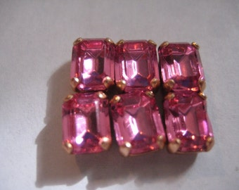 Lot of 6 8x6mm Rose Octagon Shaped Swarovski Rhinestones in Brass Sew on Settings