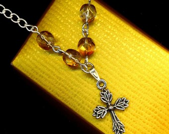 Silver Plated Cross Pendant . Crystal Necklace . Fire-polished Faceted Czech Crystals. Honey Rose - Christian Faith by enchantedbeas on Etsy