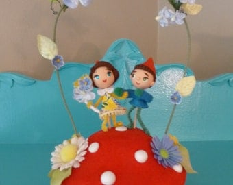 OOAK Gnomes on Mushroom Wedding Cake Topper Keepsake