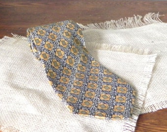 Vintage necktie - mustard green and blue basket weave pattern with square on diagonal - wide