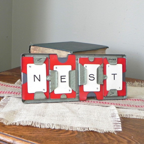 Vintage sign NEST in grey metal frame case red or blue - great housewarming or baby shower decor or gift