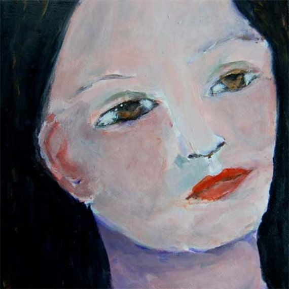 Acrylic Portrait Painting Daydreamer, Girl, Face, Black, Hair Tucked Behind Ear 6x6 canvas board