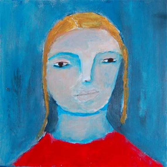 Acrylic Portrait Painting So Blue Girl, Face, Yellow, Blue 6x6 canvas board