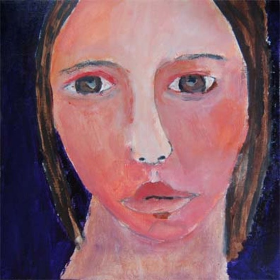 Acrylic Portrait Painting Could Not Believe It Girl, Face, Black 6x6 canvas board