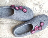 Wool slippers/ home shoes INA in grey with purple flowers- Made to order, custom colors, any size