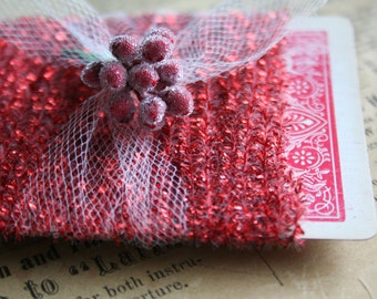 Holiday Red Tinsel String for Packaging - 12 Feet Narrow Sparkly Red Tinsel Trim - Metallic Red Tinsel String