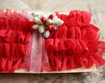 Sparkling Red Handmade Valentine Ruffle Trim