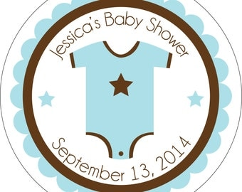 Personalized Glossy Boy (or girl/neutral) Baby Shower Stickers - many designs to choose from - can change colors, wording, etc. BR-005