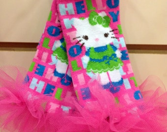 """Hello Kitty Girls Ruffle Tutu Leg Warmers - Fits girls 6m to 3T approx 6"""" long - Perfect for Birthday, Costume, Photo Prop"""