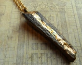 Gold Leaf  Embellished Fossilized Bone Necklace