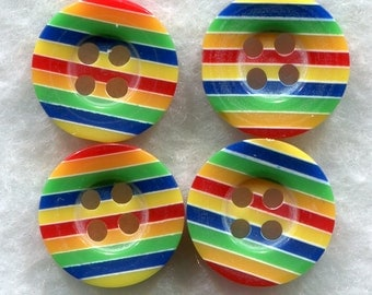 Rainbow Striped Buttons Multi Color Acrylic Buttons 12 mm (1/2 inch) Set of 8/BT147A