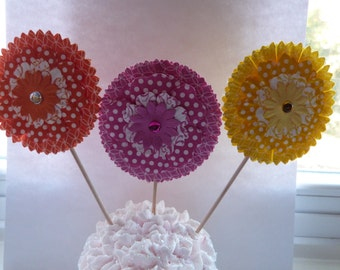 Bold and Fun Flower Cupcake Toppers - 12 Paper Button Flowers - Cake or Cupcake Toppers, use for Birthday, Shower, Celebration or a party