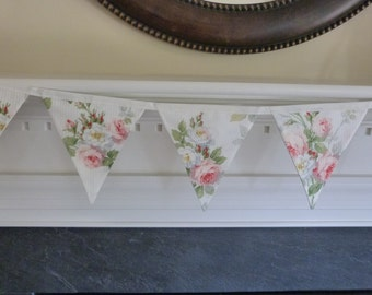Lauren Shabby Rose Floral Chic, Wedding, Baby Nursery, Photo Prop, Shower Fabric 5 Bunting Flags - Over 4 feet - READY TO GO