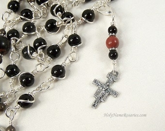 Rosary Marker Charm San Damiano Unbreakable Wire Wrapped Red Jasper Black Onyx