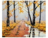LARGE Yellow autumn oil painting commissioned fall trees art road trail artwork Graham gercken - GerckenGallery