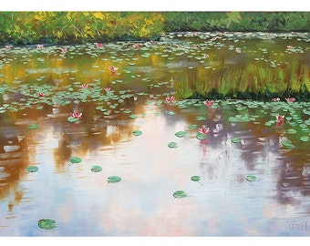 LILY POND PAINTING impressionist lilies flowers Oil Painting by Graham Gercken