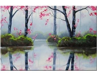 MISTY BLOSSOM PINK Large Painting trees impressionist landscape  art oil Graham gercken