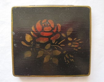 Vintage Tole Painted Box - Signed