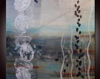 Large Original Abstract Painting, Blue Gray Painting,  Art by Andrada, Huge  painting Contemporary ready to hang,