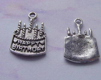 Happy Birthday Cake charm 10 pieces