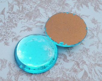 Large Vintage 25mm Turquoise/Aquamarine Gold Foiled Flat Back Round Glass Cabs (3 pieces)