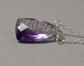 Birthstone Series -- February -- Moss Amethyst and Sterling Silver Necklace