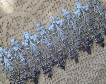 Dresden Trims Paper Foil Germany 8 Fancy Die Cut Blue Embellishments