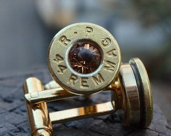 Bullet Shell Cufflinks, brass/gold R-P Remington Peters .44 Magnum Handcrafted Repurposed Bullet Shell Cufflinks with Swarovski crystals