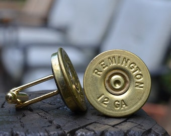 Wedding cufflinks Shotgun Cufflinks, Remington 12 gauge cufflinks Remington cufflinks crafted from repurposed shell casings
