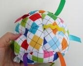 Jumble Ball Sensory Baby Block with rattle and ribbon tags - Argyle Rainbow
