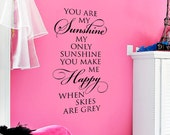 You are my sunshine - large vinyl wall decal vinyl lettering wall words design art
