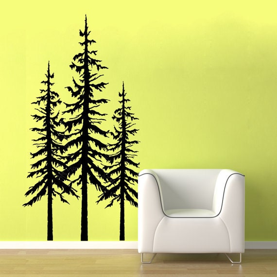 Vinyl wall decor trees : Sale three large dark green pine tree wall decals
