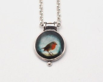 Robin Pendant - Tiny Medallion Sterling Silver Necklace with Fine Art Image Transfer and Resin and Sterling Chain