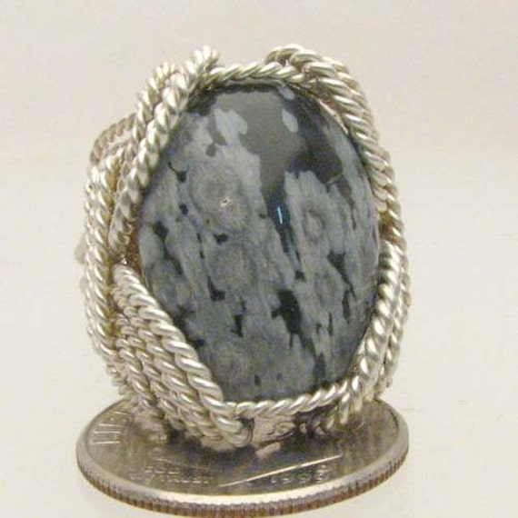 Handmade Solid Sterling Silver Artisan Wire Wrap Snowflake Agate Gemstone Ring