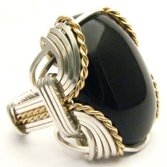 Handmade Ring Wire Wrapped Ring Two Tone Ring Sterling Silver/14kt Gold Filled Ring Black Onyx Ring