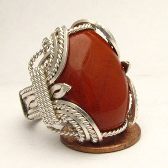 Handmade Sterling Silver Wire Wrap Red Jasper Cabochon Ring