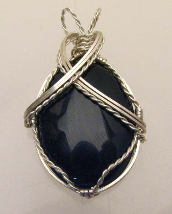Handmade Solid Sterling Silver Wire Wrap Black Onyx Pendant
