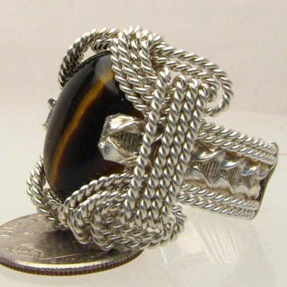 Handmade Solid Sterling Silver Wire Wrap Tiger Eye Ring